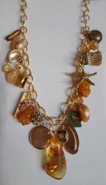 CUSTOM DESIGN –Treasure necklace using Amber and Provided Charms