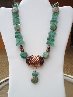 SOLD-Green glass & copper