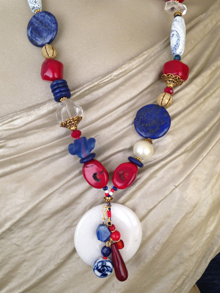 CUSTOM DESIGNED – Red. White and Blue Necklace