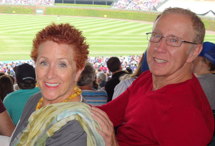 With James, husband of 42 years at a baseball game